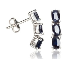 SAPPHIRE EARRINGS IN SILVER - SAPPHIRE EARRINGS - EARRINGS