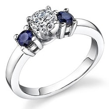 GOLD RING WITH DIAMONDS AND BLUE SAPPHIRES. - ENGAGEMENT RINGS WITH GEMSTONES