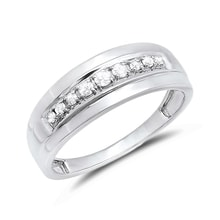 Men's anniversary ring with diamonds in white gold - Men Rings