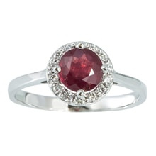 GOLD RING WITH RUBY ​​AND DIAMONDS - HALO ENGAGEMENT RINGS - ENGAGEMENT RINGS WITH GEMSTONES