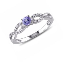 STERLING SILVER RING, TANZANITE AND DIAMONDS - ENGAGEMENT RINGS WITH GEMSTONES - ENGAGEMENT RINGS