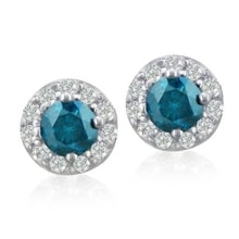 BLUE DIAMOND EARRINGS IN WHITE GOLD - DIAMOND EARRINGS - EARRINGS