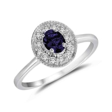 Golden ring with sapphire and diamonds - Sapphire Rings