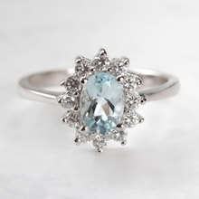 STERLING SILVER RING WITH AQUAMARINE AND ZIRCON - HALO ENGAGEMENT RINGS - ENGAGEMENT RINGS