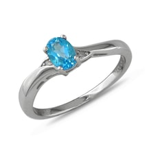 STERLING SILVER RING WITH TOPAZ AND DIAMONDS - TOPAZ RINGS - RINGS
