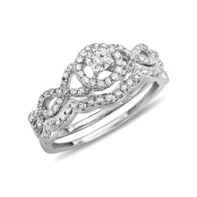 Diamond engagement and wedding ring set in white gold - Fine Jewellery