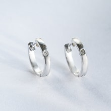 Earrings made of white gold decorated with diamond - Diamond earrings