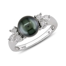 Tahitian pearl and diamond ring in 14kt white gold - Pearl Rings