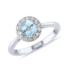 Gold ring with aquamarine and diamonds - Halo engagement rings