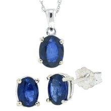 SET EARRINGS AND NECKLACE WITH SAPPHIRES - EARRING SETS - EARRINGS