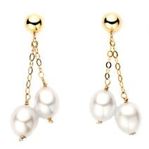 GOLD PEARL EARRINGS - PEARL EARRINGS - PEARLS