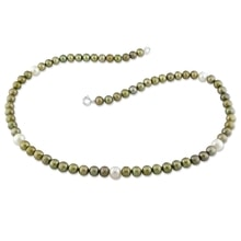 NECKLACE MADE OF GREEN AND WHITE PEARLS - PEARL NECKLACE - PEARLS