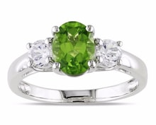 SILVER RING WITH PERIDOT AND SYNTHETIC SAPPHIRES - PERIDOT RINGS - RINGS