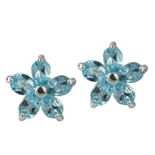 SILVER EARRINGS TOPAZ FLOWER - JEWELLERY SALE
