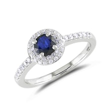 Sapphire ring with diamonds - Halo engagement rings