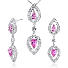 SILVER SET EARRINGS AND PENDANT WITH PINK SAPPHIRES - JEWELLERY SALE