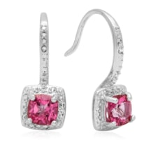 SILVER EARRINGS WITH PINK TOPAZ AND DIAMONDS - TOPAZ EARRINGS - EARRINGS