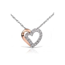 Two-tone heart with diamonds - Heart Pendants