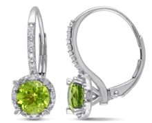 SILVER EARRINGS PERIDOT AND DIAMONDS - STERLING SILVER EARRINGS - EARRINGS
