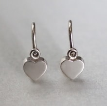 Children's hearts in white gold - White gold earrings