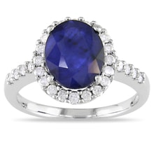 SAPPHIRE RING IN WHITE GOLD WITH 28 DIAMONDS - HALO ENGAGEMENT RINGS - ENGAGEMENT RINGS WITH GEMSTONES