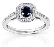 SAPPHIRE RING WITH DIAMONDS - HALO ENGAGEMENT RINGS - ENGAGEMENT RINGS WITH GEMSTONES
