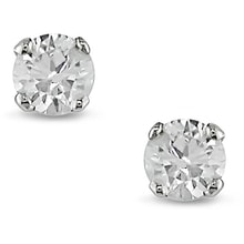 STUD EARRINGS MADE OF WHITE GOLD WITH DIAMONDS - STUD EARRINGS - EARRINGS
