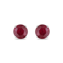 Gold earrings with ruby ​​stones - Ruby earrings