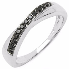 SILVER RING BLACK DIAMONDS - STERLING SILVER RINGS - RINGS