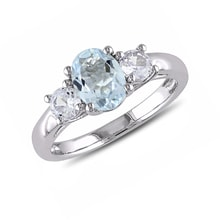 Sterling silver ring with white sapphires and aquamarine - Aquamarine rings