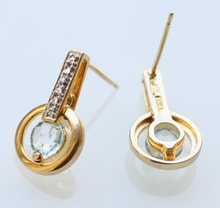 Sterling silver earrings with diamonds and topaz - Jewellery Sale