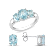 RING AND EARRINGS WITH BLUE TOPAZ - JEWELLERY BY KLENOTA