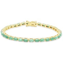 GOLD-PLATED SILVER BRACELET WITH EMERALDS - TENNIS BRACELETS - JEWELLERY BY GEMSTONE