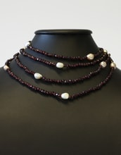 Garnet necklace with pearls - Jewellery Sale