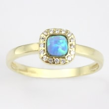 GOLD OPAL RING WITH CZ - OPAL RINGS - RINGS