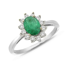 Emerald ring with zircones in white gold - Halo engagement rings