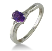 SILVER RING WITH AMETHYST AND DIAMONDS - AMETHYST RINGS - RINGS