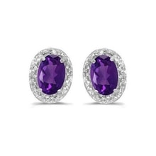 GOLD EARRINGS WITH AMETHYSTS 0.9 KT - AMETHYST EARRINGS - EARRINGS