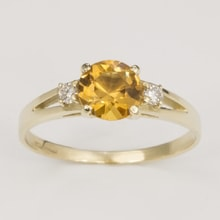 Gold ring with citrine and two diamonds - Engagement rings with gemstones