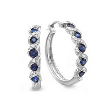STERLING SILVER EARRINGS WITH SAPPHIRES AND DIAMONDS - SAPPHIRE EARRINGS - EARRINGS