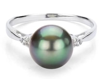 SILVER RING WITH TAHITIAN PEARL - PEARL RINGS - PEARLS
