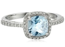 SILVER RING WITH BLUE TOPAZ AND ZIRCON - TOPAZ RINGS - RINGS