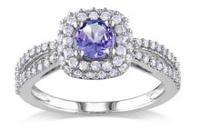 WHITE GOLD RING WITH WHITE DIAMONDS AND TANZANITE - HALO ENGAGEMENT RINGS - ENGAGEMENT RINGS WITH GEMSTONES