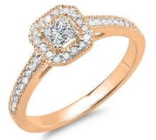 DIAMOND ENGAGEMENT RING OF PINK GOLD - ROSE GOLD RINGS - RINGS