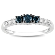 WHITE GOLD RING WITH BLUE AND WHITE DIAMONDS - DIAMOND RINGS - RINGS