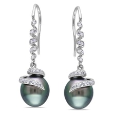 EARRINGS MADE OF WHITE GOLD WITH TAHITIAN PEARL AND DIAMONDS - PEARL EARRINGS - PEARLS