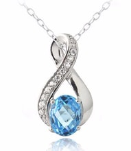 SILVER PENDANT WITH TOPAZ AND ZIRCONS - TOPAZ PENDANTS - PENDANTS