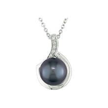 Sterling silver necklace with pearl and diamonds - Pearl pendant