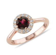 Gold ring with garnets and diamonds - Engagement Halo Rings