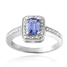 Tanzanite and diamond ring in sterling silver - Fine Jewellery